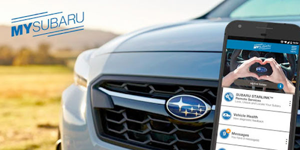 MySubaru customer portal promo image with car and mobile phone - made by Sitback